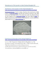 Manufacturer of Talc powder in India Thailand Bangkok SVI