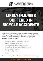 Likely Injuries Suffered In Bicycle Accidents