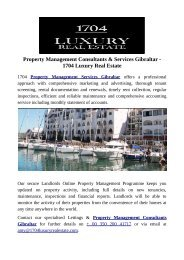 Property Management Consultants & Services Gibraltar - 1704 Luxury Real Estate