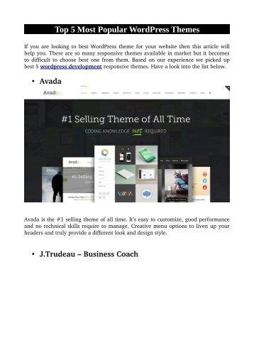 Top 5 Most Popular WordPress Themes