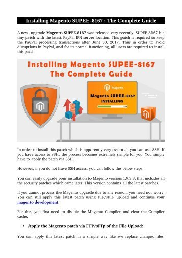 Installing Magento SUPEE-8167 : The Complete Guide