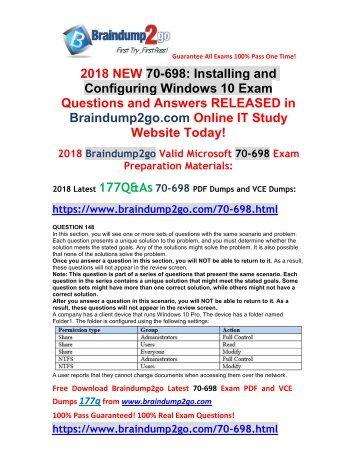 2017 Full Version New Braindump2go 70 698 Vce And 70 698 Pdf Dumps