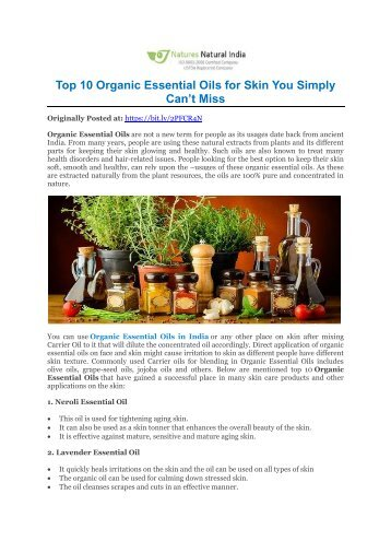 Top 10 Organic Essential Oils for Skin You Simply Can't Miss!
