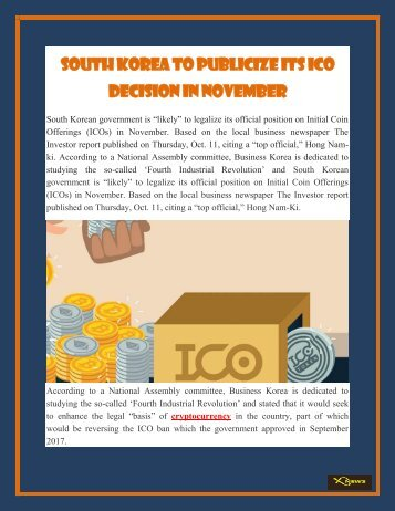 South Korea to Publicize Its ICO Decision in November