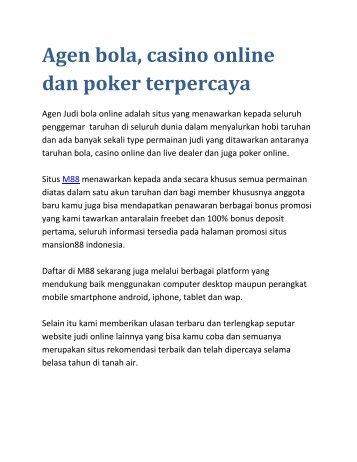 Kumpulan agen bola, casino online dan poker terpercaya
