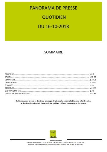 Panorama de presse quotidien du 16-10-2018
