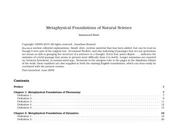 Metaphysical Foundations of Natural Science - Early Modern Texts