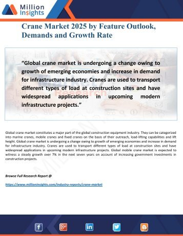 Crane Market Outlook, Trends and Applications to 2025