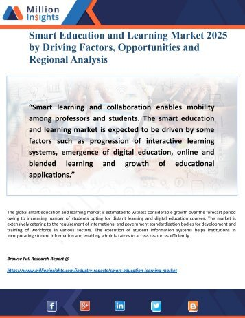 Smart Education and Learning Market 2025- by Opportunities, Analysis and Applications