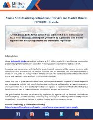 Amino Acids Market Specifications, Overview and Market Drivers Forecasts Till 2022