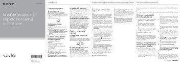 Sony SVE1511V1R - SVE1511V1R Guide de dépannage Roumain