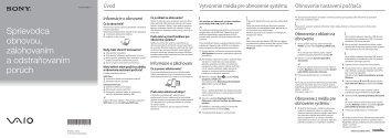 Sony SVE1511V1R - SVE1511V1R Guide de dépannage Slovaque