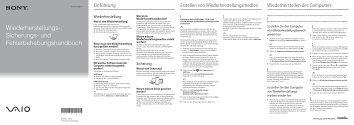 Sony SVE1511V1R - SVE1511V1R Guide de dépannage Allemand