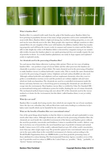 Bamboo Fibre Factsheet - Wholesale Organic Baby Clothes