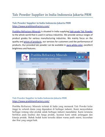 Talc Powder Supplier in India Indonesia Jakarta PRM