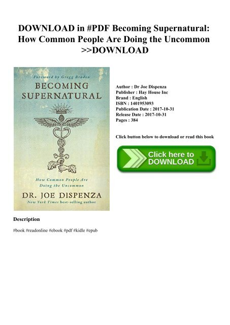 [PDF] [EPUB] Becoming Supernatural: How Common People Are ...