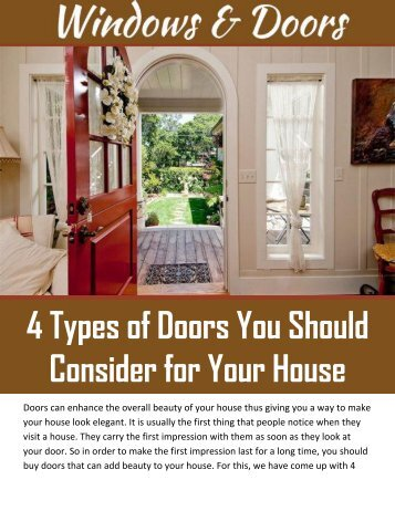 4 Types of Doors You Should Consider for Your House