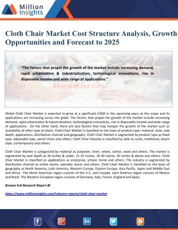 Cloth Chair Market Cost Structure Analysis, Growth Opportunities and Forecast to 2025