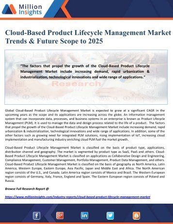 Cloud-Based Product Lifecycle Management Market Trends & Future Scope to 2025