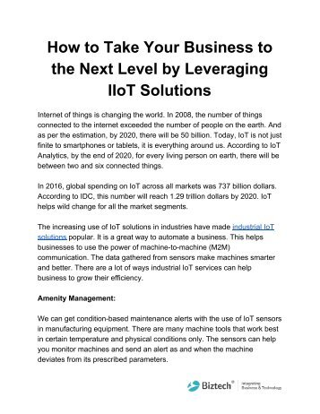 How to Take Your Business to the Next Level by Leveraging IIoT Solutions