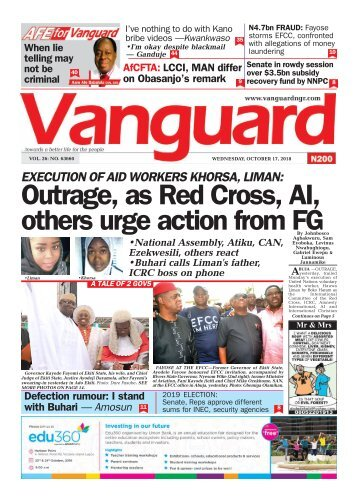17102018 - EXECUTION OF AID WORKERS KHORSA, LIMAN: Outrage, as Red Cross, Al, others urge action from FG