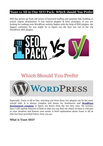 Yoast vs All in One SEO Pack: Which should You Prefer