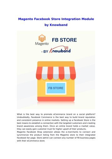 Knowband Magento Facebook Store Extension | Facebook Integration Module