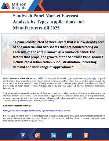 Sandwich Panel Market Forecast Analysis by Types, Applications and Manufacturers till 2025