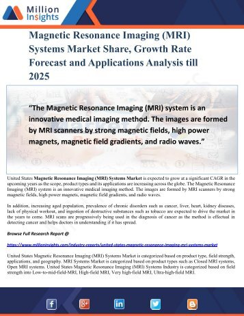 Magnetic Resonance Imaging (MRI) Systems Market Share, Growth Rate Forecast and Applications Analysis till 2025