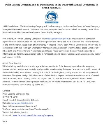 Polar Leasing Company, Inc. to Demonstrate at the IAEM 66th Annual Conference in Grand Rapids, MI
