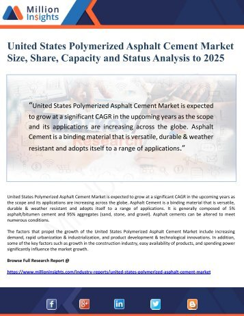 United States Polymerized Asphalt Cement Market Size, Share, Capacity and Status Analysis to 2025
