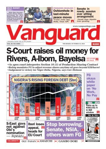 18102018 -S-Court raises oil money for Rivers, A-Ibom, Bayelsa