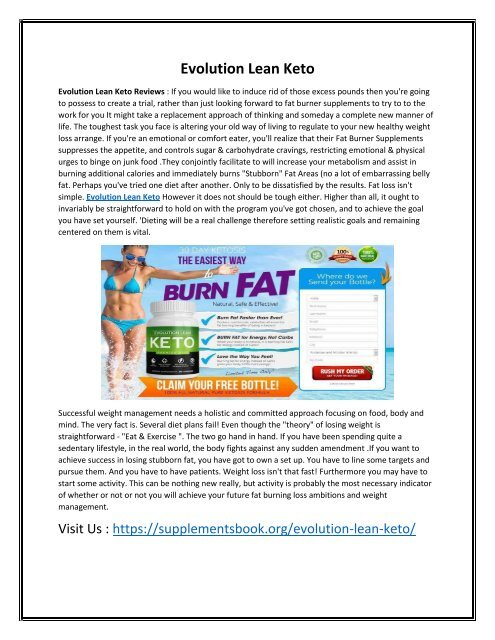 Evolution Lean Keto - Help You Lose Weight Faster