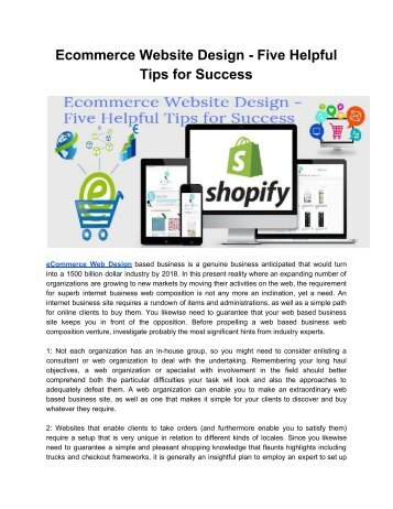 Ecommerce Website Design - Five Helpful Tips for Success