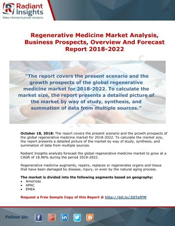 Regenerative Medicine Market Growth and Forecast Analysis Report 2018-2022