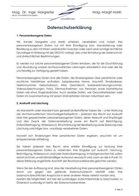 Datenschutzerklärung Kanzlei Margreiter und Markl 18102018