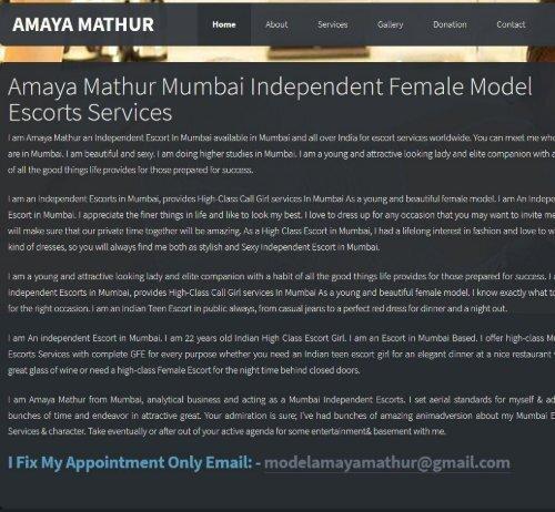Amaya Mathur Mumbai Independent Female, Mumbai Escorts Services 24 7