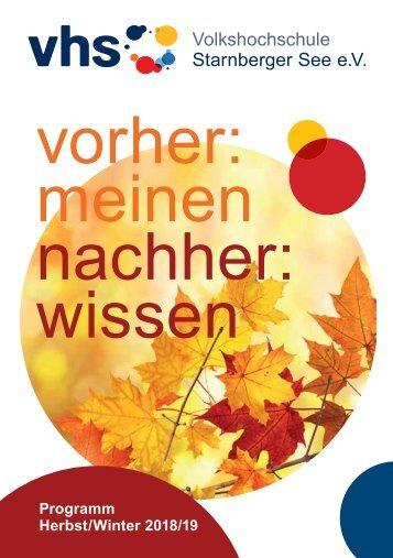 Programmheft Herbst-Wintersemester 2018/19 VHS Starnberger See