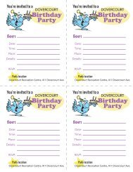 Dovercourt Birthday Party invites (Dovercourt address)
