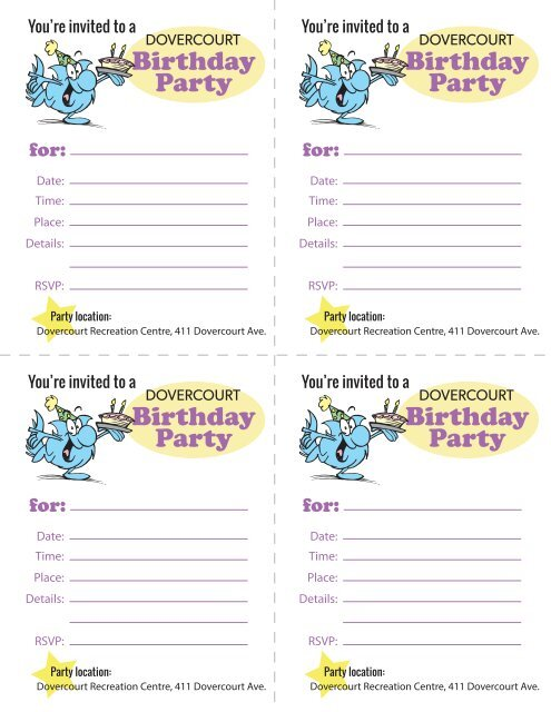 Dovercourt Birthday Party invites (Dovercourt address)