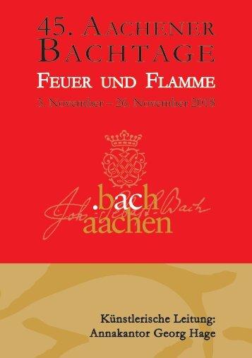 Programmheft 45. Aachener Bachtage 2018