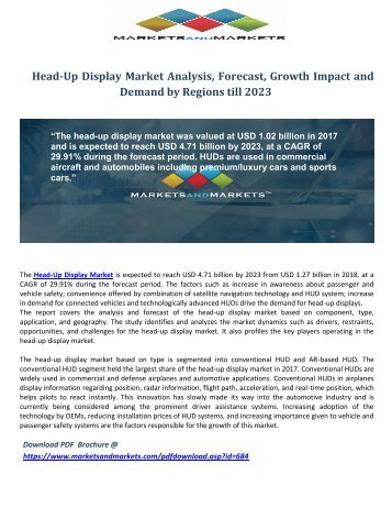 Head-Up Display Market Analysis, Forecast, Growth Impact and Demand by Regions till 2023