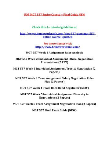 UOP MGT 557 Entire Course