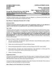 Rathmore Primary School Enrolment Criteria P1 2018