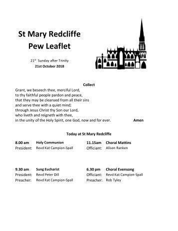 St Mary Redcliffe Church Pew Leaflet - October 21 2018