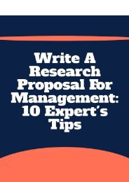 Write a Research Proposal for Management: 10 Expert's Tips