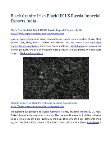 Black Granite Irish Black UK US Russia Imperial Exports India