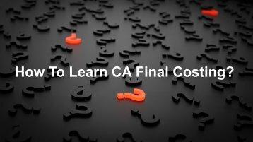 CA Final Costing Books 2018