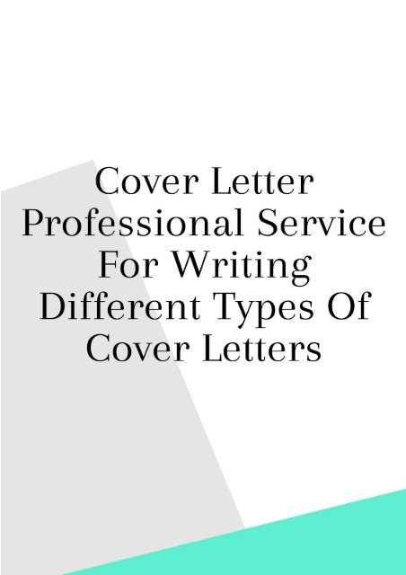 Cover Letter Professional Service for Writing Different Types of ...