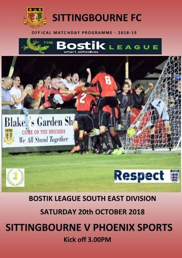 Saturday 20th October 2018, . Sittingbourne v Phoenix Sports  Match Day programme